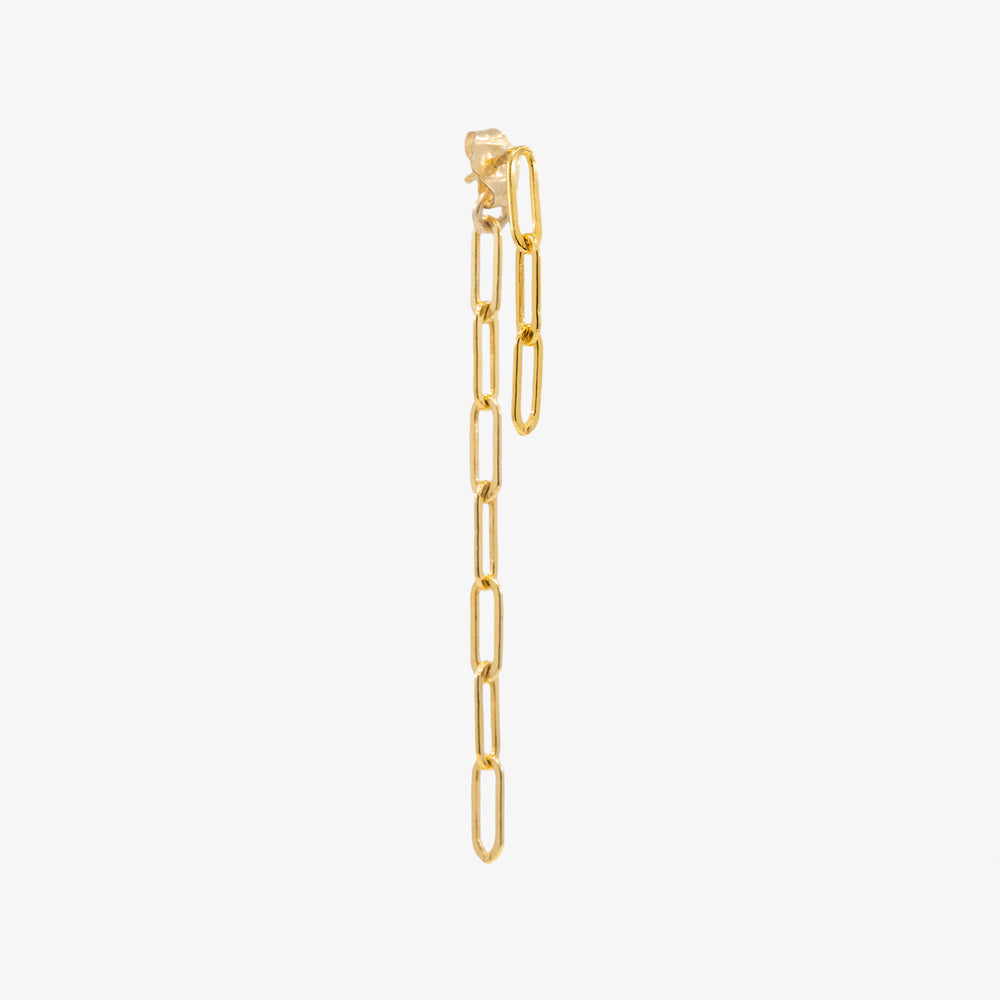 The chain jacket earring in gold is a dangle earring that hangs off the ear.  Single: Gold