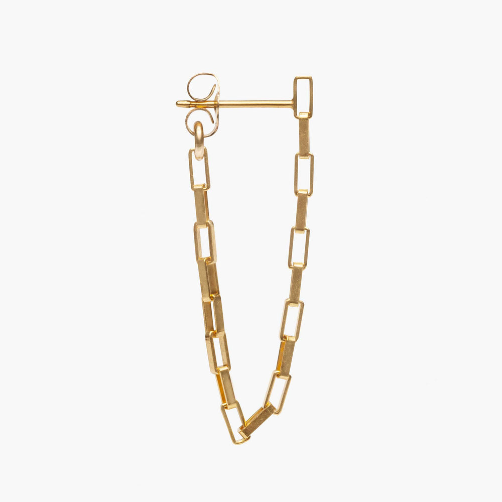 Bold square-link chain that links from front of the earring to the back of the earring.