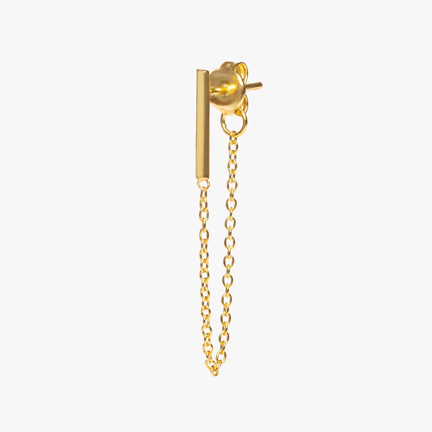Gold bar earring with chain linked from front to back. color:gold