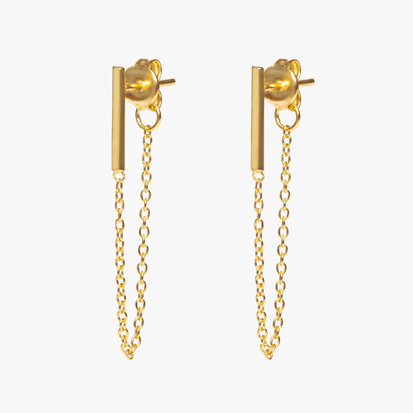 Gold bar earring with chain linked from front to back. [pair] color:gold