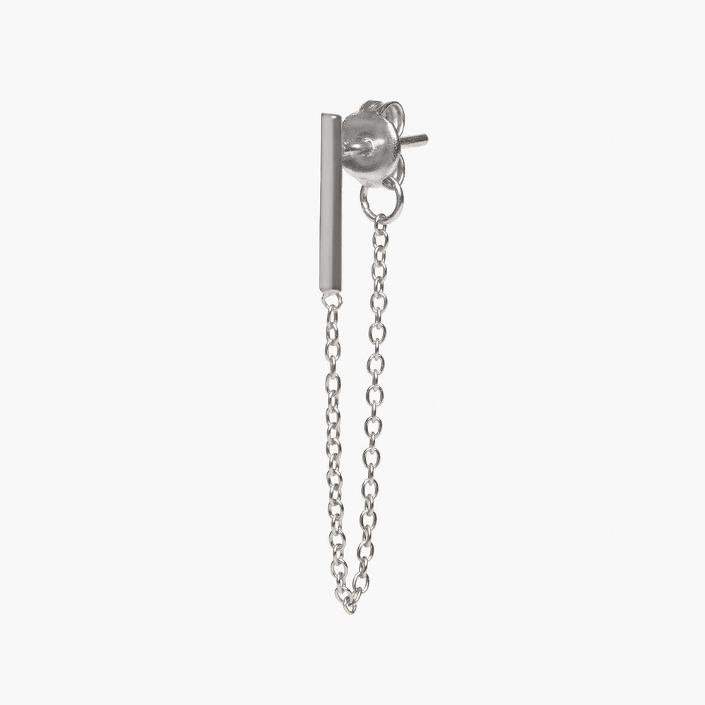Silver bar earring with chain linked from front to back. color:silver