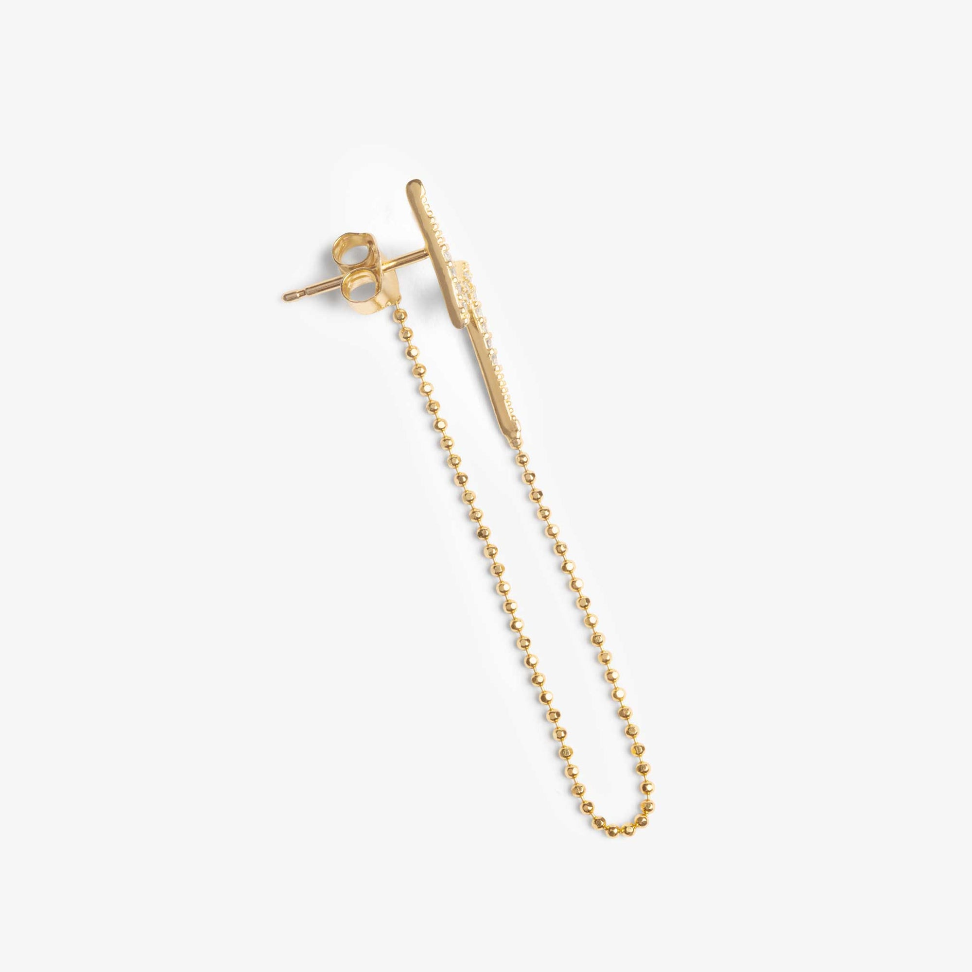 Lightning bolt stud with a chain dangle that connects to the back of the stud.
