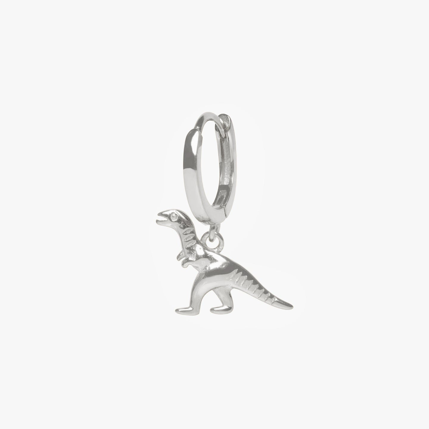 Dinosaur charm on a huggie. color:silver