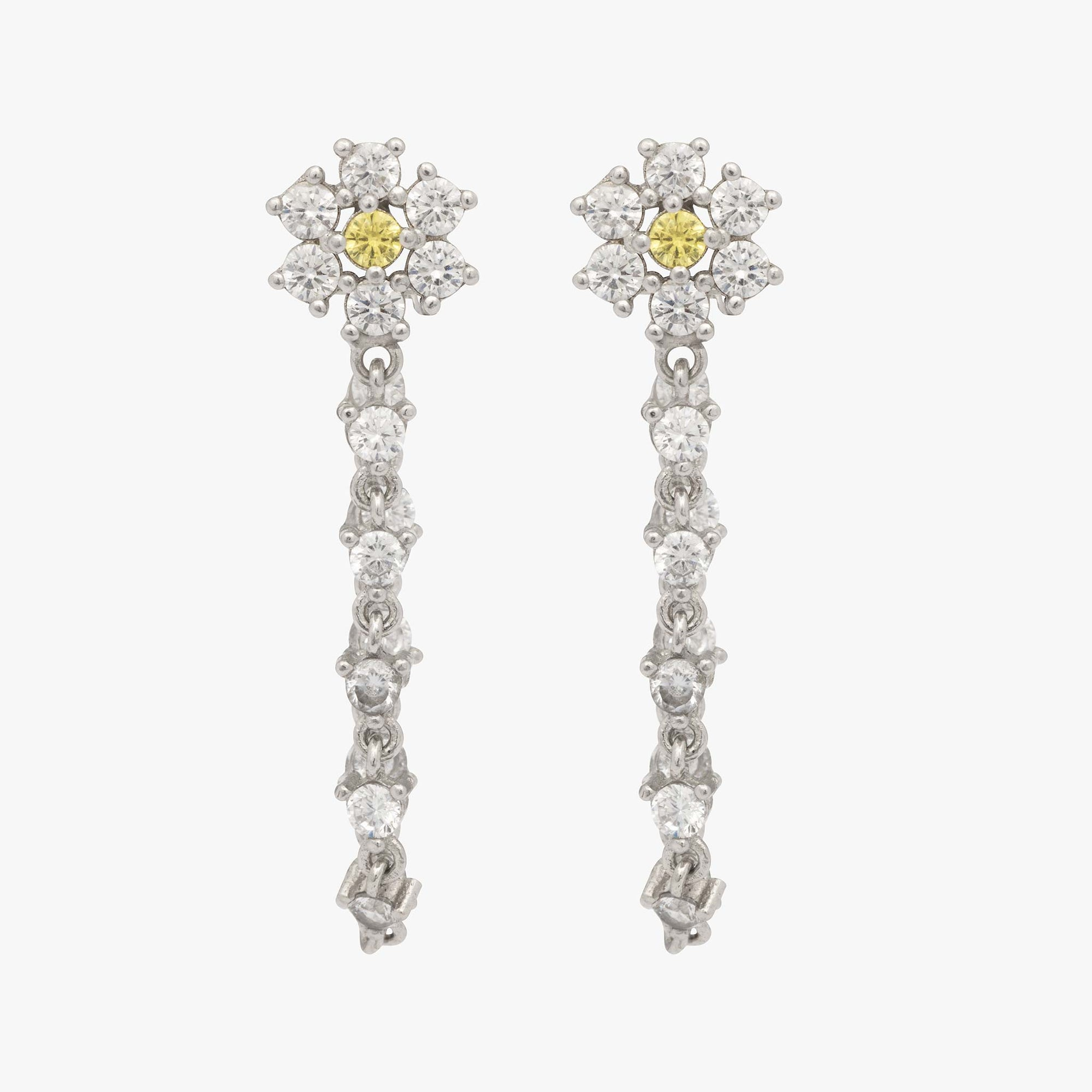 Silver flower CZ shaped stud with a yellow CZ center and CZ dangle. [pair] color:silver