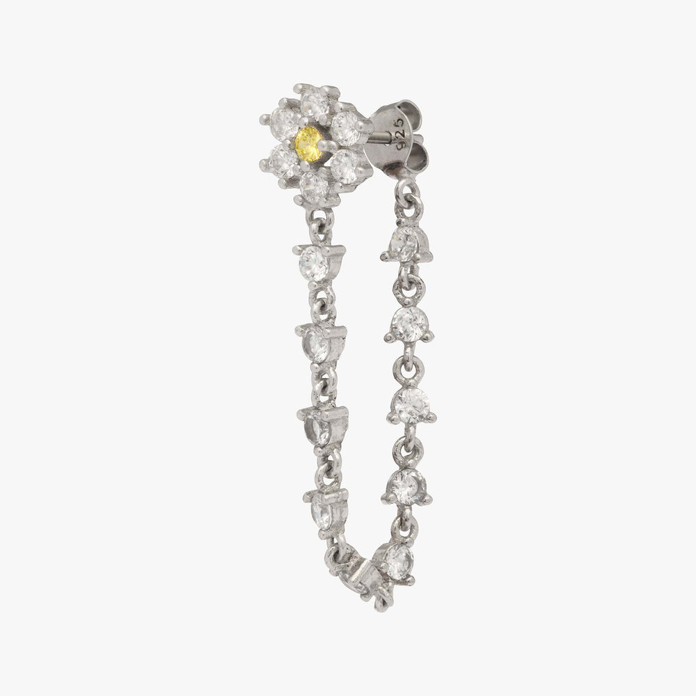 Silver flower CZ shaped stud with a yellow CZ center and CZ dangle. color:silver
