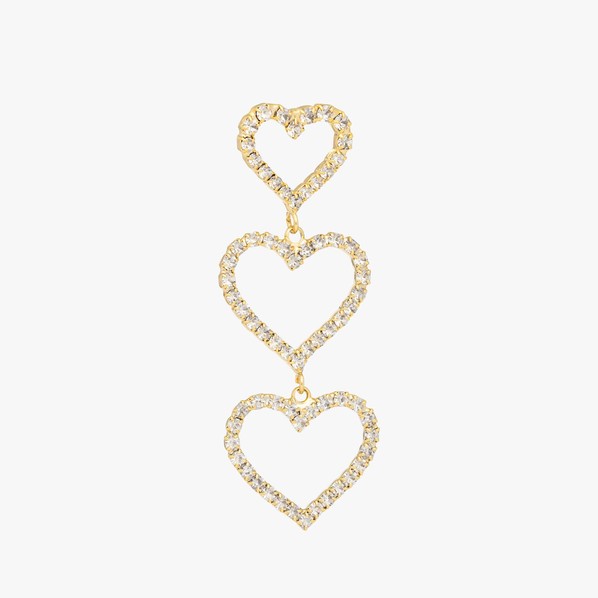 Three gold pavé cut out hearts stacked vertically in a drop.