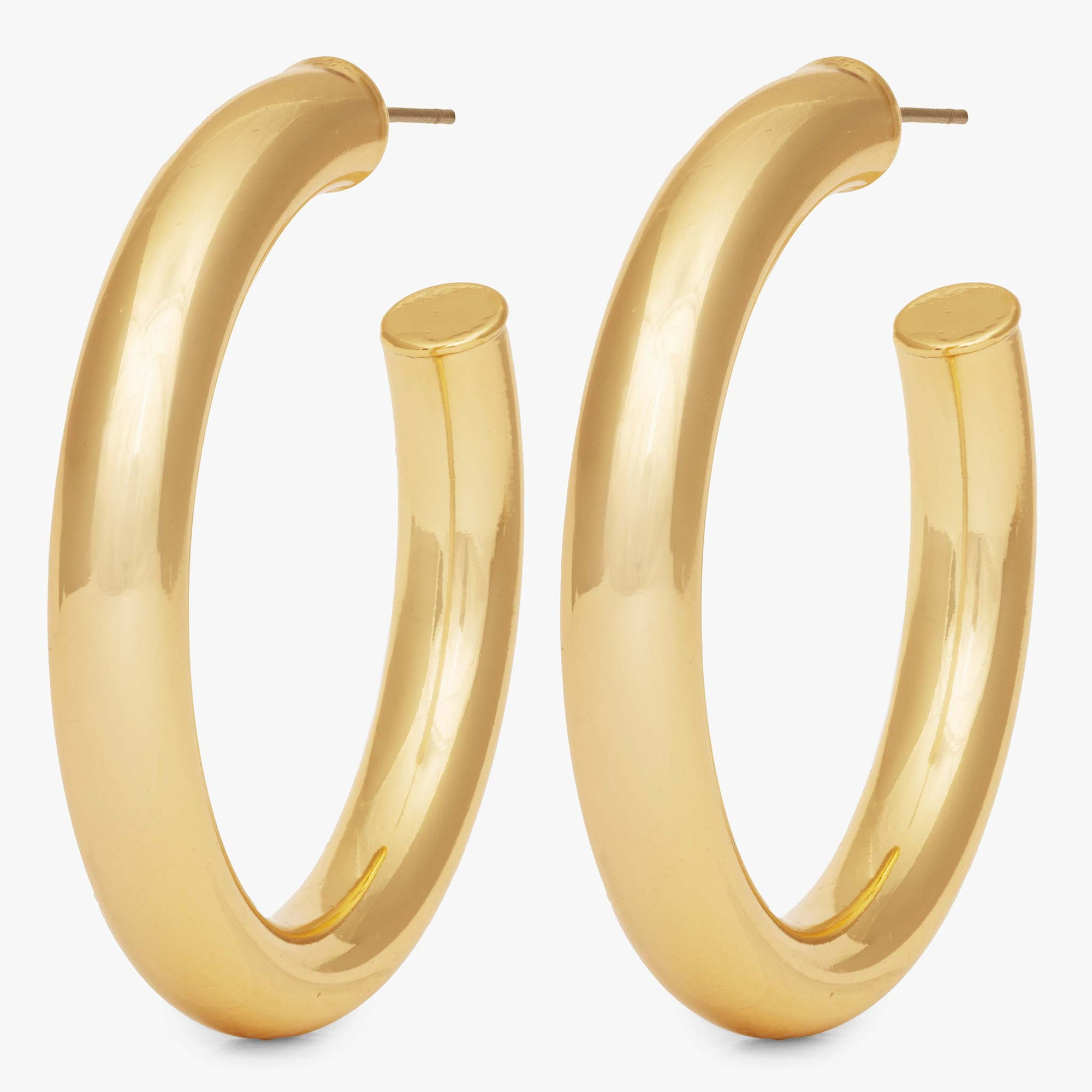 Large hollow tube-like hoop. [pair] color:gold