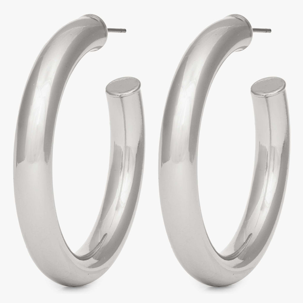 Large hollow tube-like hoop. [pair] color:silver