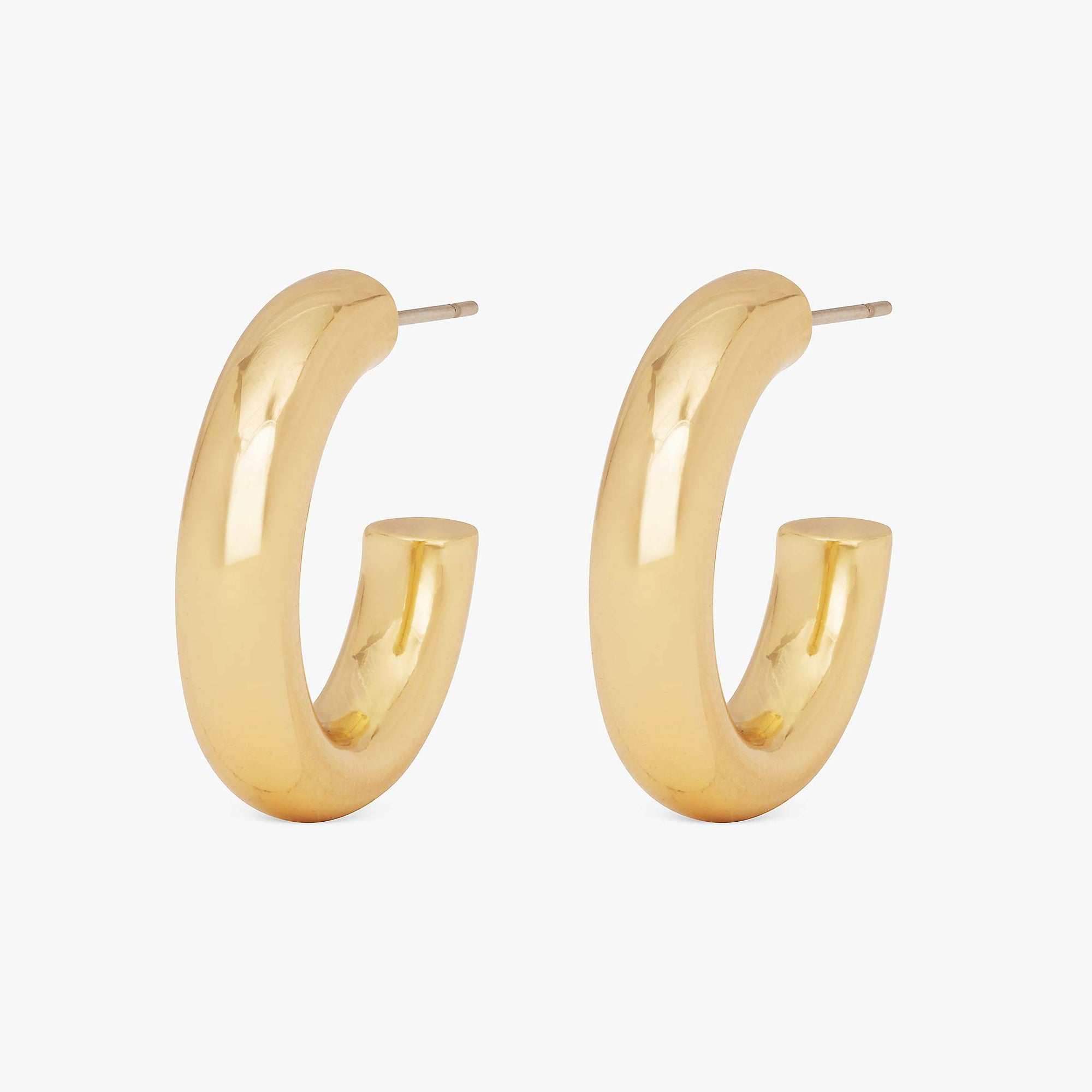 Tube-like medium hollow hoops. [pair] color:gold