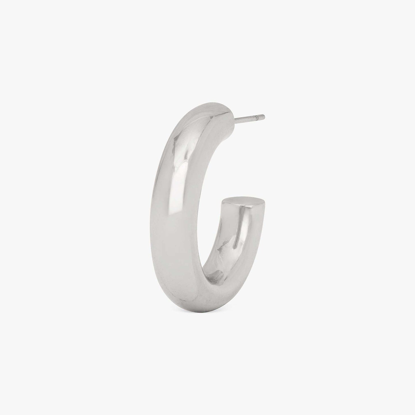 Tube-like medium hollow hoops. color:silver