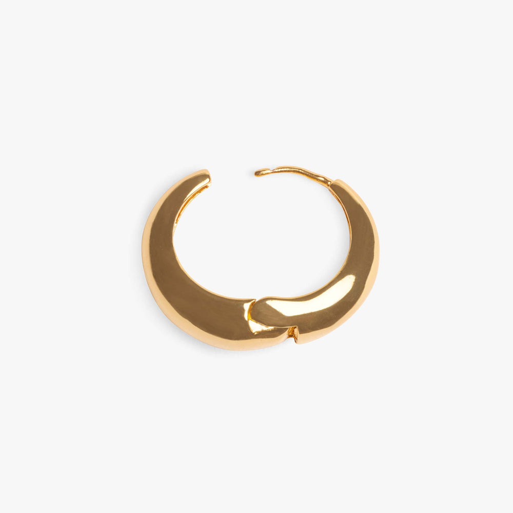 Hoops that are thinner at the top and thicker at the bottom to create a teardrop effect when faced straight on. color:Gold