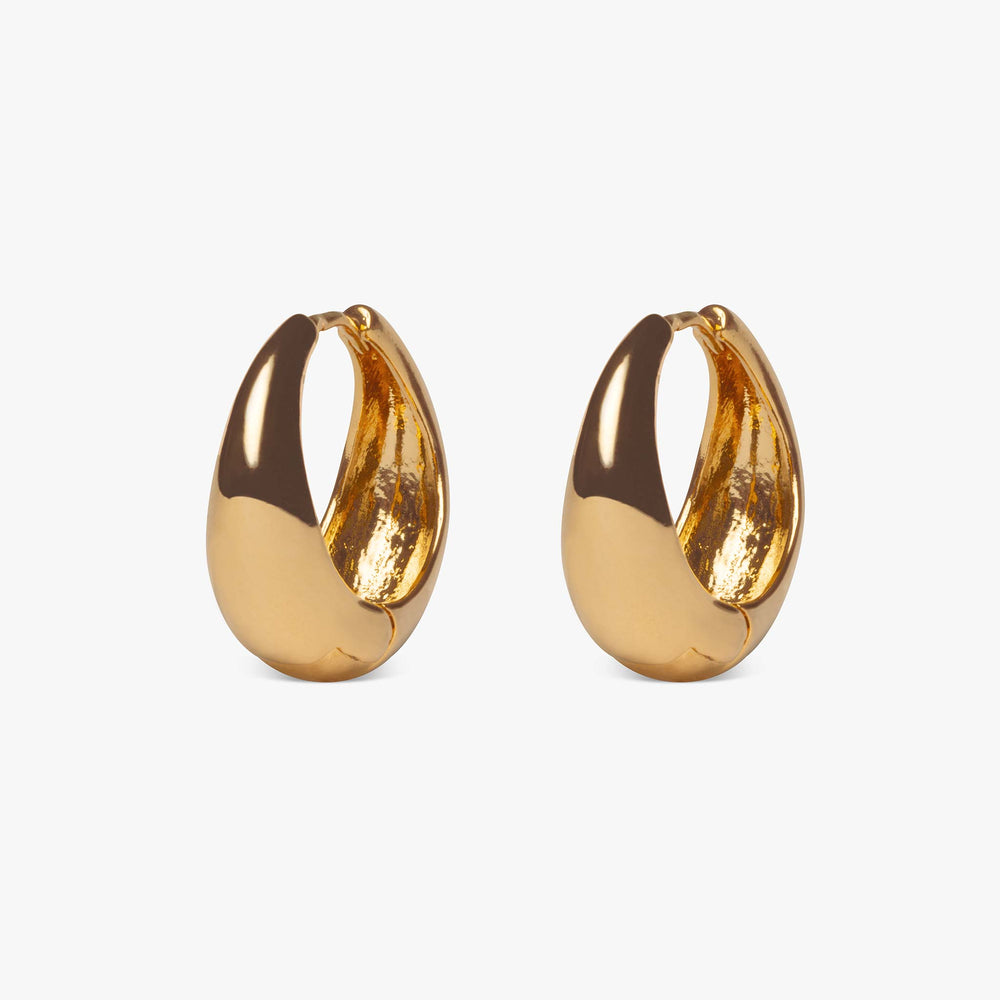 Hoops that are thinner at the top and thicker at the bottom to create a teardrop effect when faced straight on. pair color:Gold