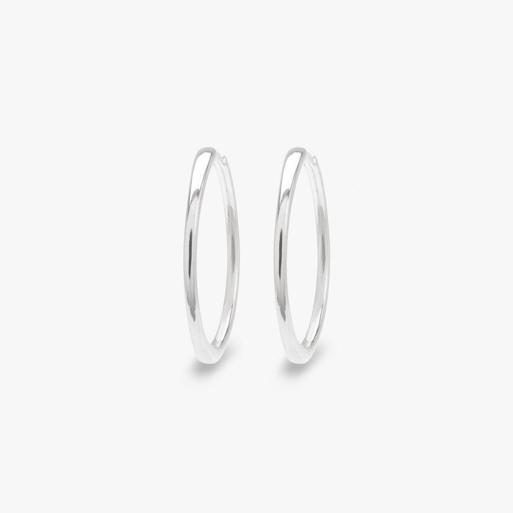 Slim silver large hoop pair photo. [pair] color:silver