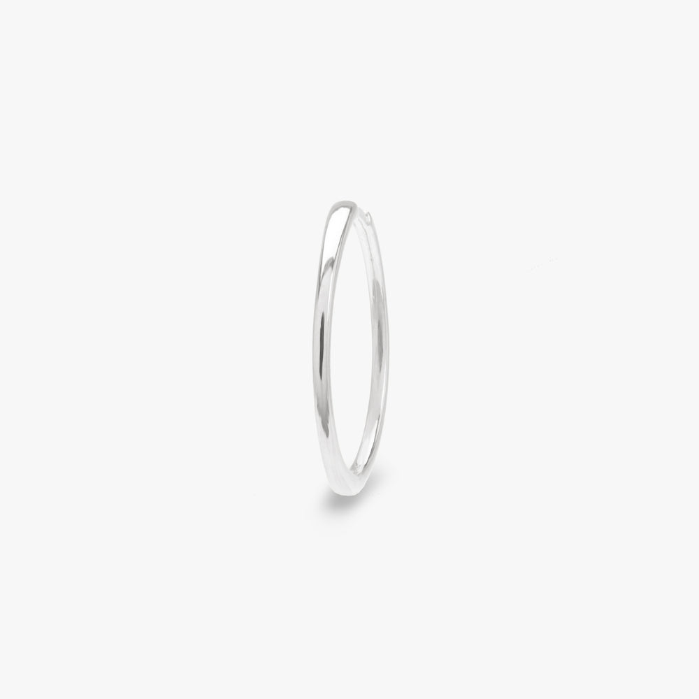 Slim silver large hoop. color:silver