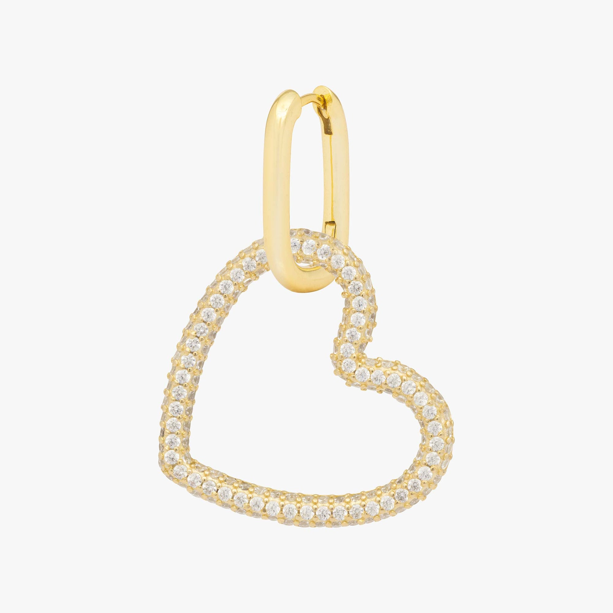 Pavé tubular heart on a gold hoop. color:gold