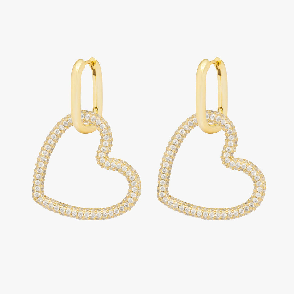 Pavé tubular heart on a gold hoop. [pair] color:gold