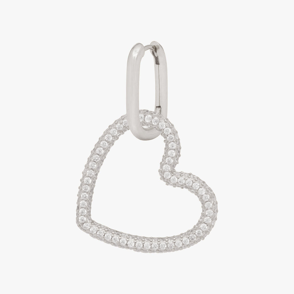 Pavé tubular heart on a silver hoop. color:silver
