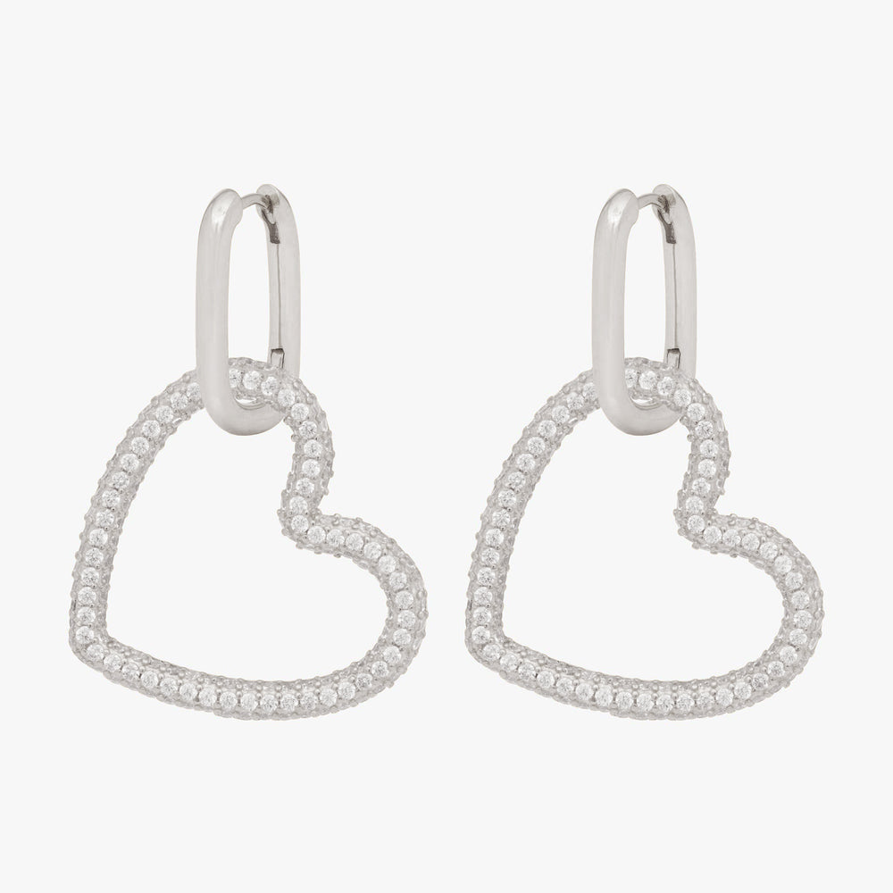 Pavé tubular heart on a silver hoop. [pair] color:silver