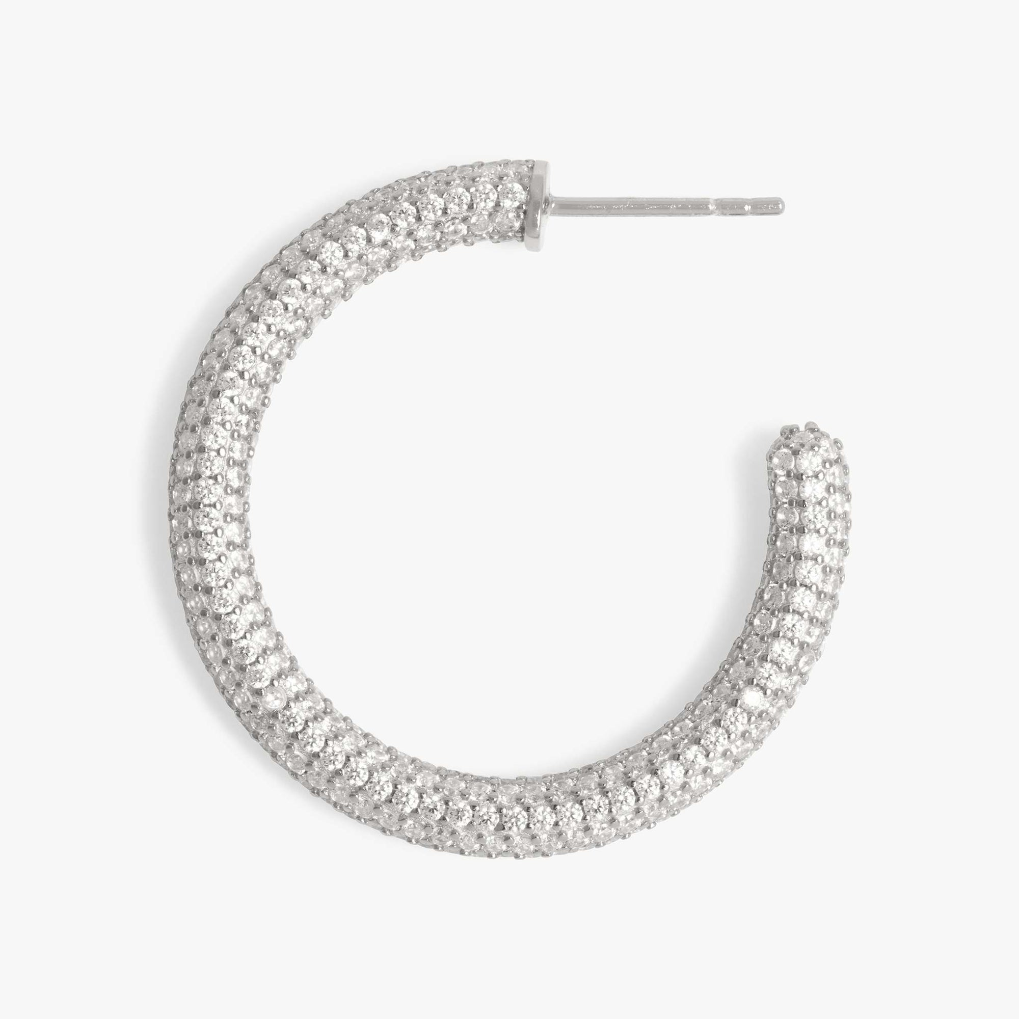 Tube-like hollow hoop with covered in CZs. color:silver