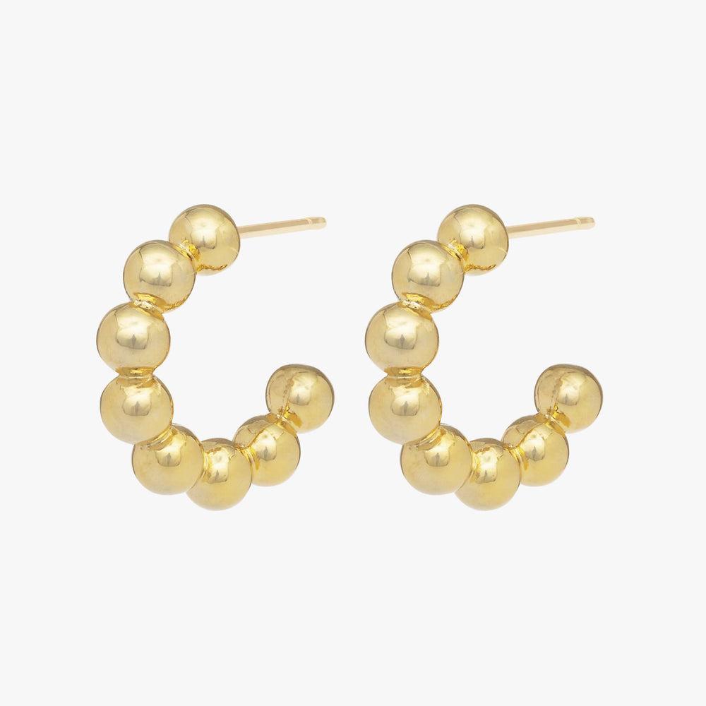 Beaded orbs in the shape of a hoop. [pair] color:gold