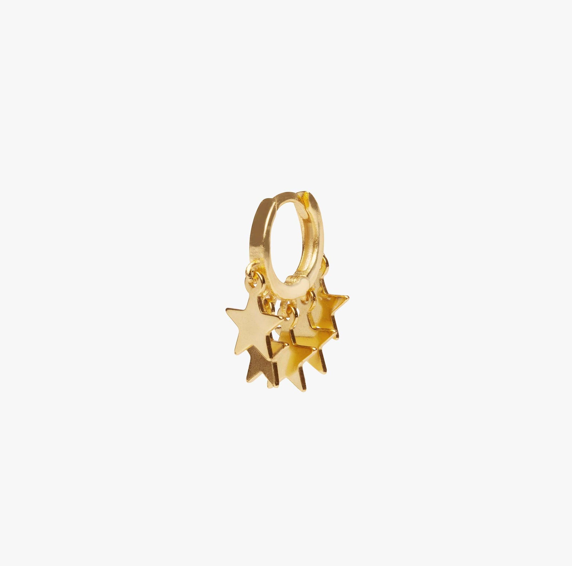 Gold fringed huggie with fringe in the shape of stars.