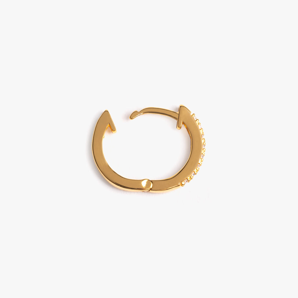 Conch hoop with CZs lining one side, and plain gold on the other.
