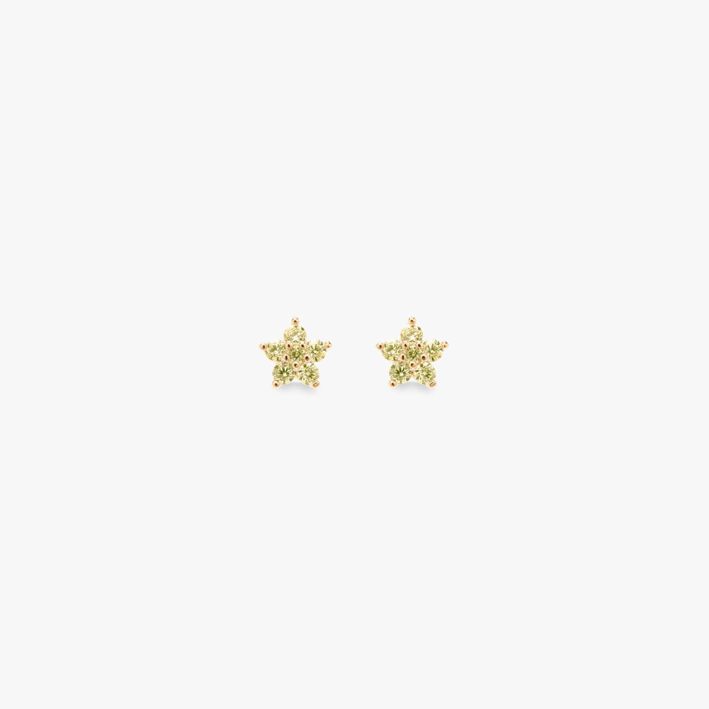 Gold flower shaped stud with yellow CZ accents pair photo. color:gold/yellow
