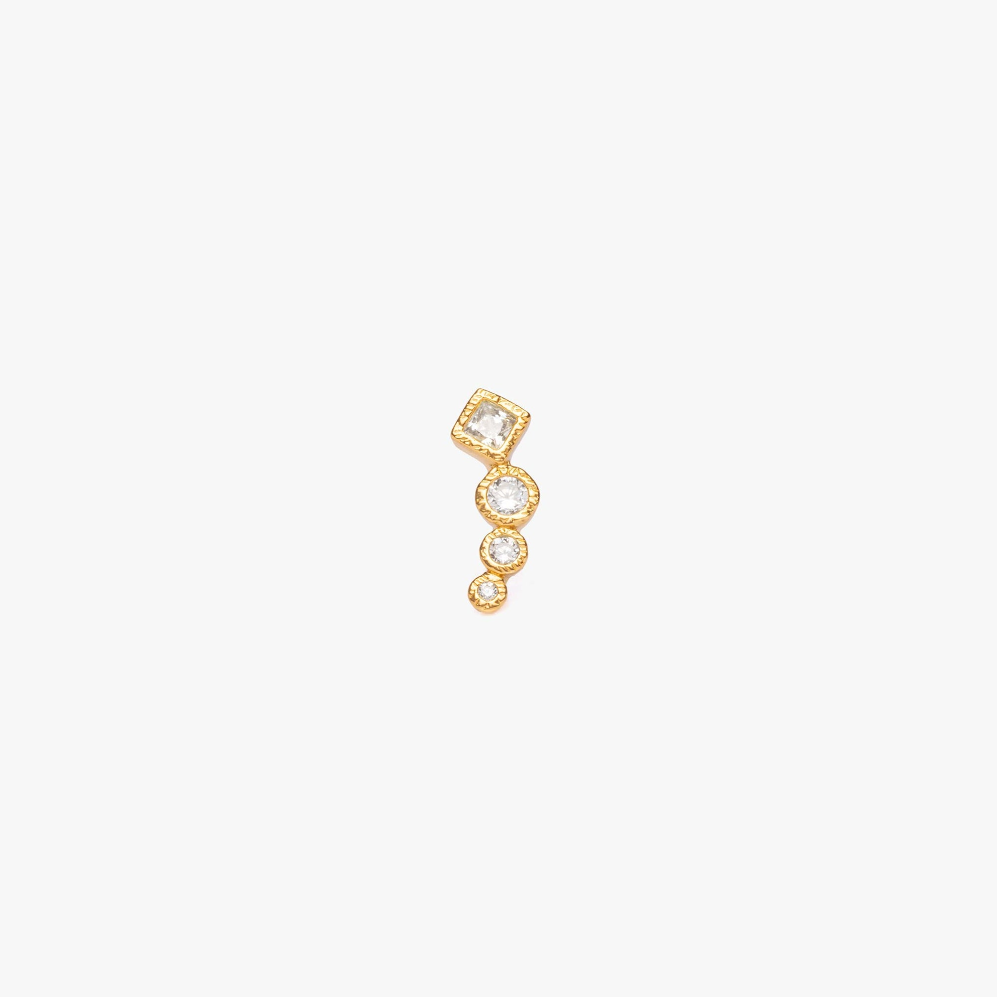 Gold Climber earring with CZ studs descending in size.