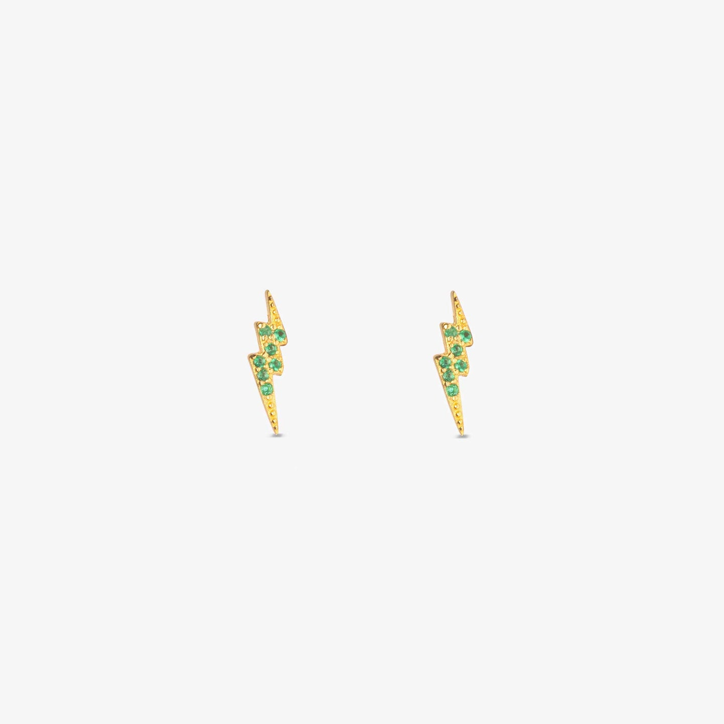 Lightning bolt stud with green CZs. [pair] color:gold/green