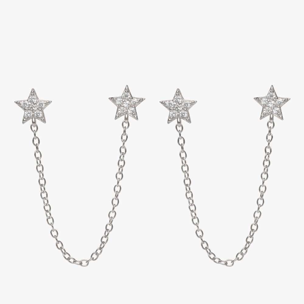 Two separate pavé star posts connected by a silver chain. [pair] color:silver