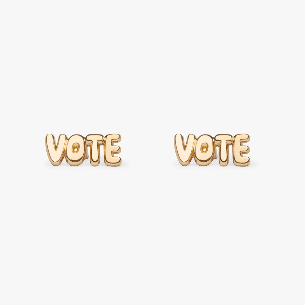 "The word ""VOTE"" in gold bubble-like letters."