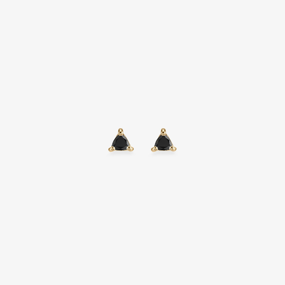 Triangle cut black diamond stud. [pair] color:black diamond