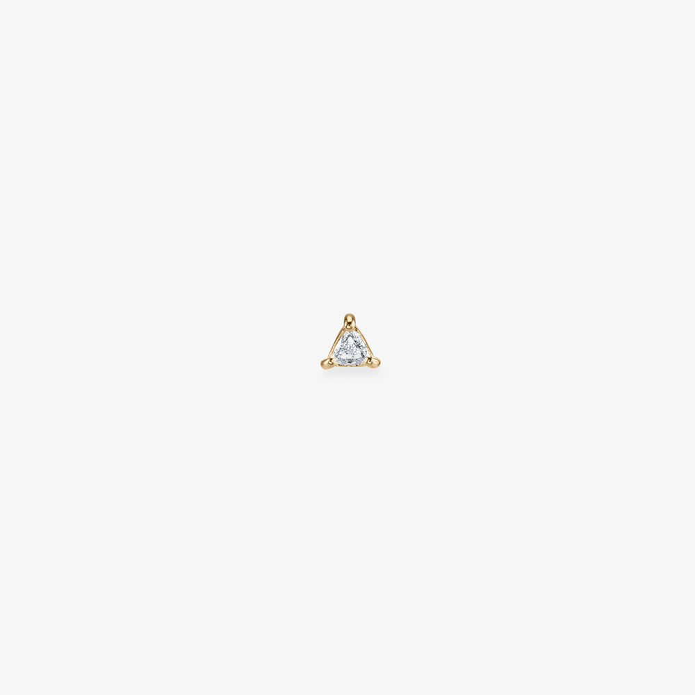 Triangle cut diamond stud. color:diamond