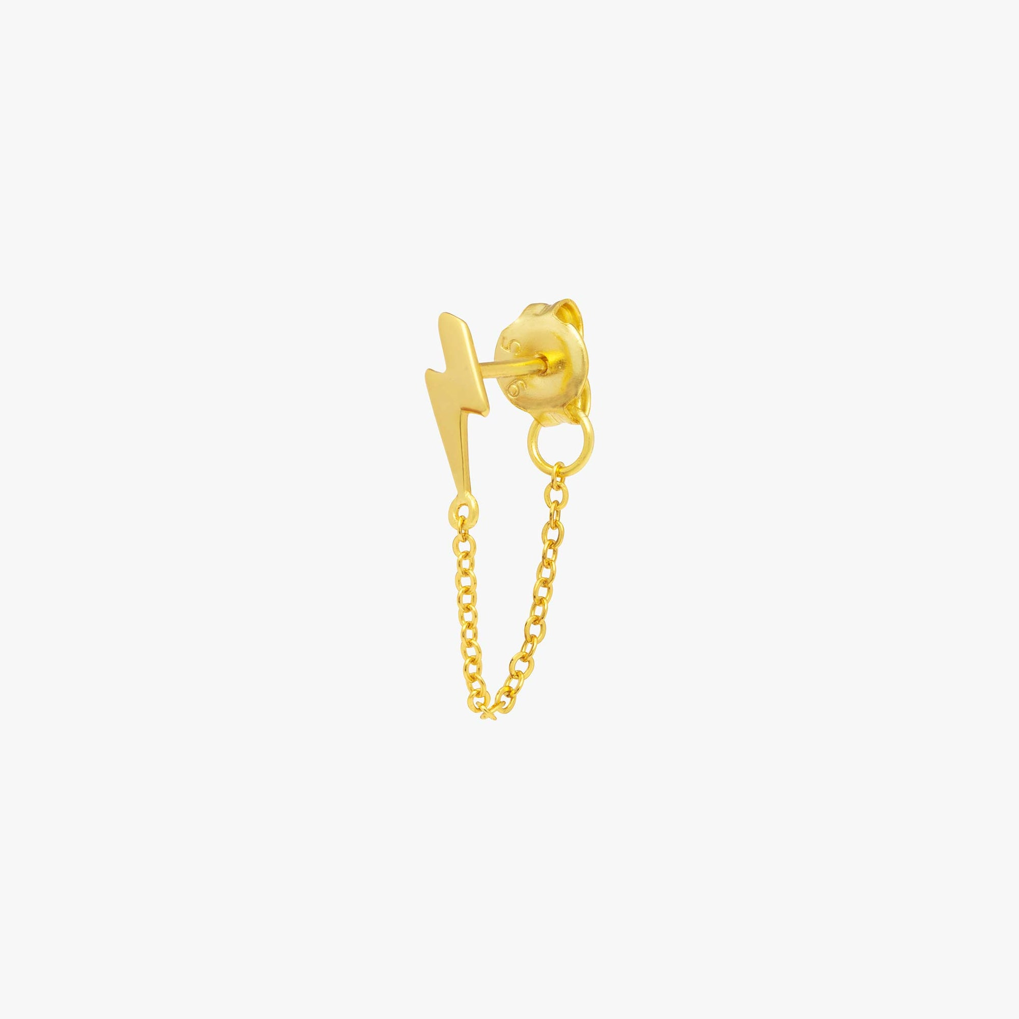 Lightning bolt stud with a chain dangle that connects to the back of the stud. color:gold