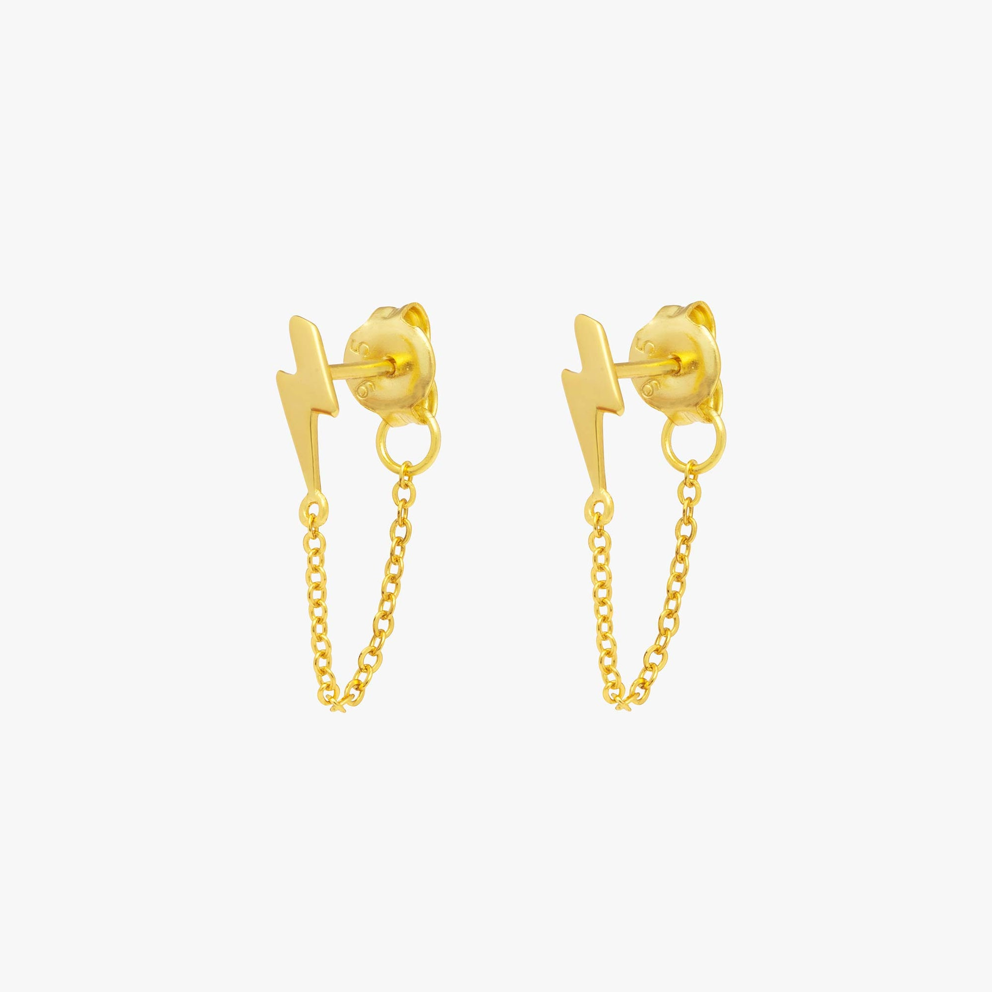 Lightning bolt stud with a chain dangle that connects to the back of the stud. [pair] color:gold