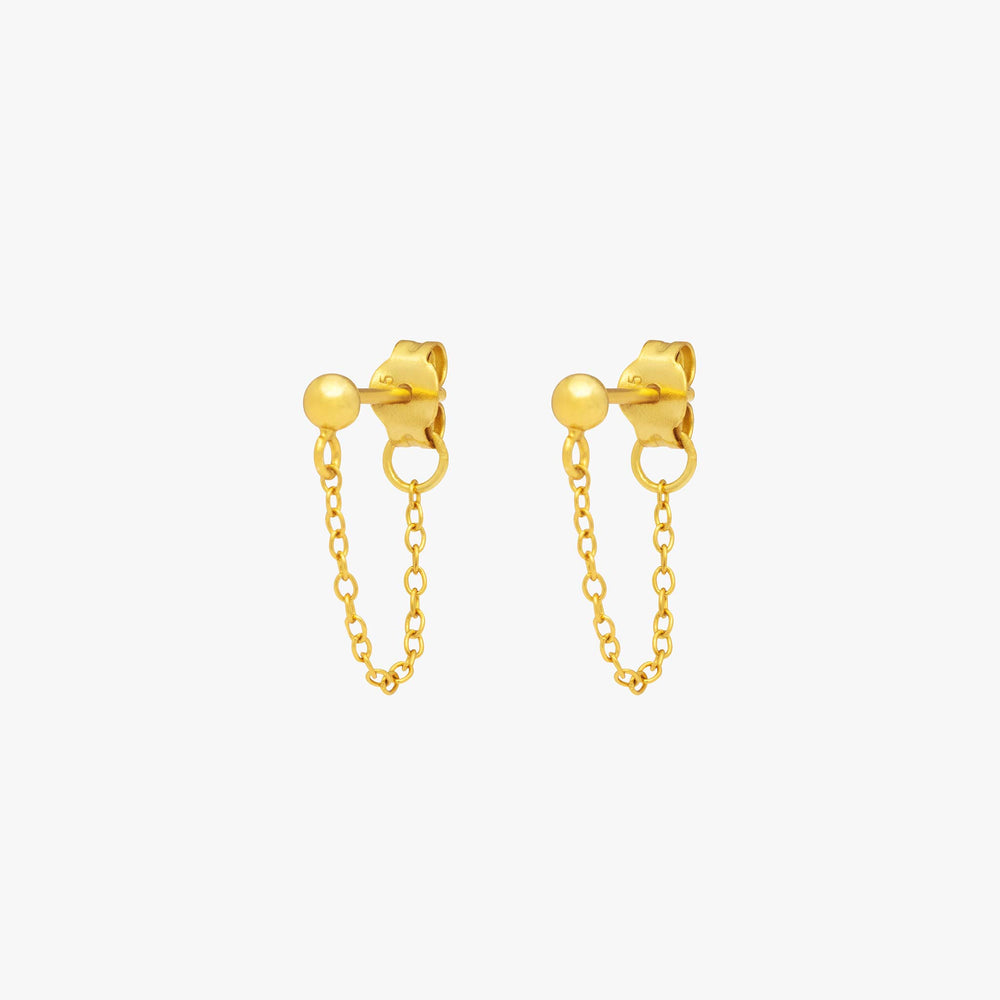 Gold ball stud with chain linked from front to back. [pair] color:gold