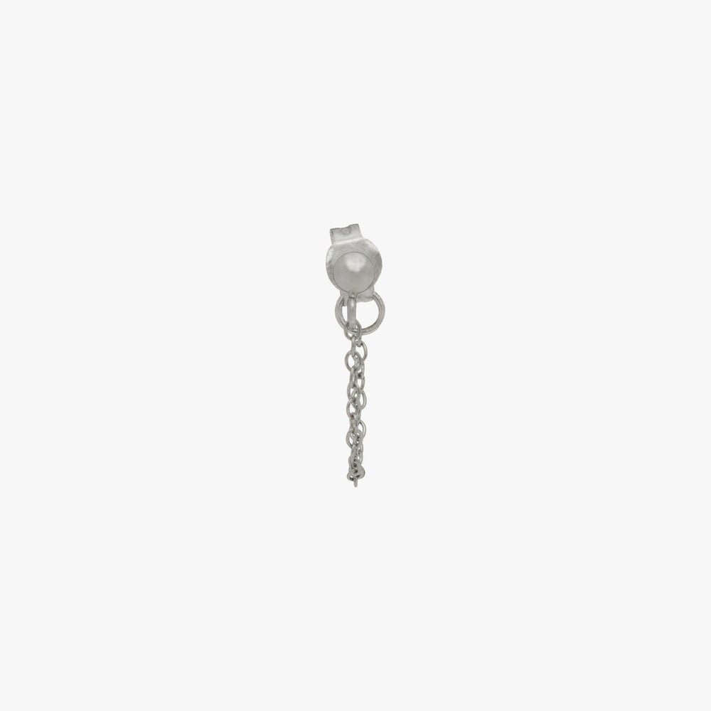 Silver ball stud with chain linked from front to back. color:silver