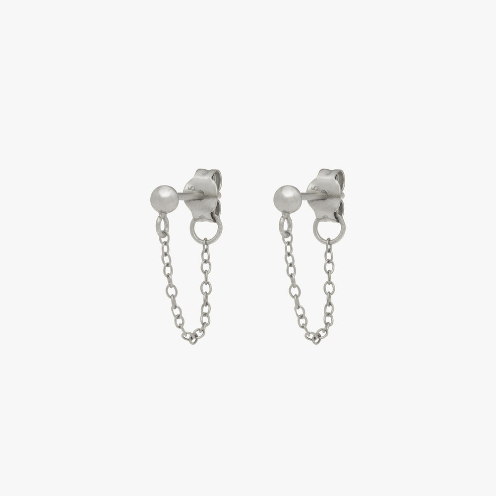 Silver ball stud with chain linked from front to back. [pair] color:silver