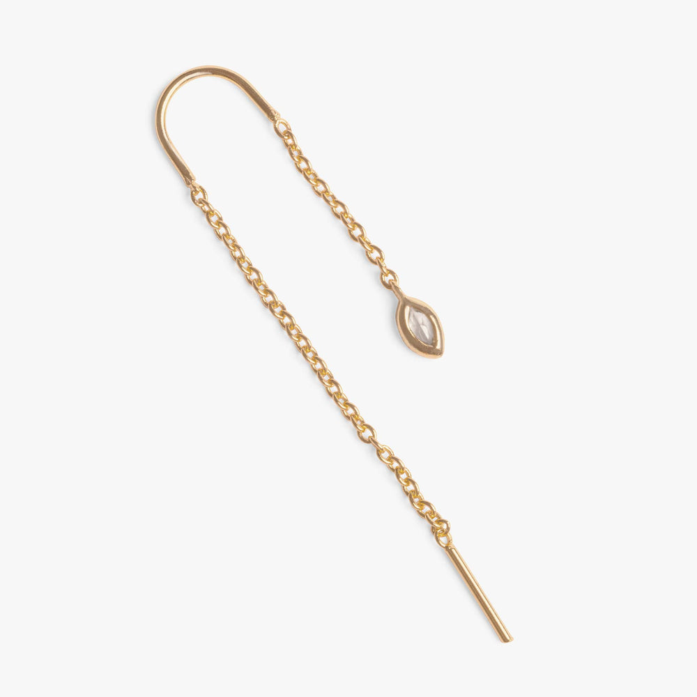 Threader with a clear oval shaped CZ at the front. color:gold/clear
