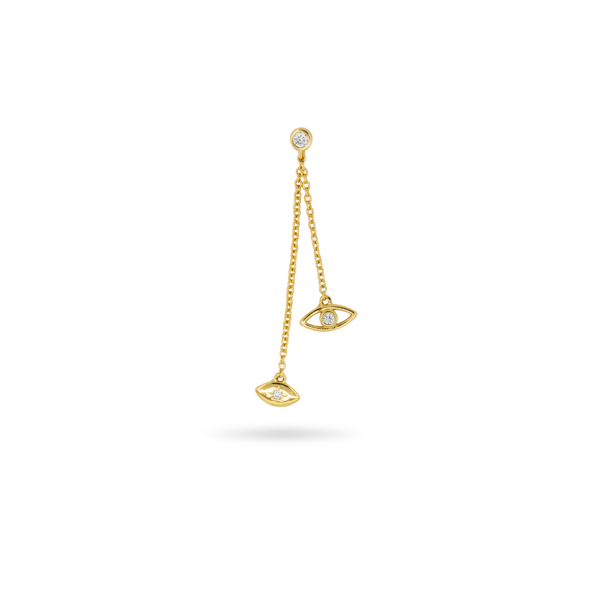 The evil eye dangle is a gold earring that hangs off the ear and has clear gemmed accents.