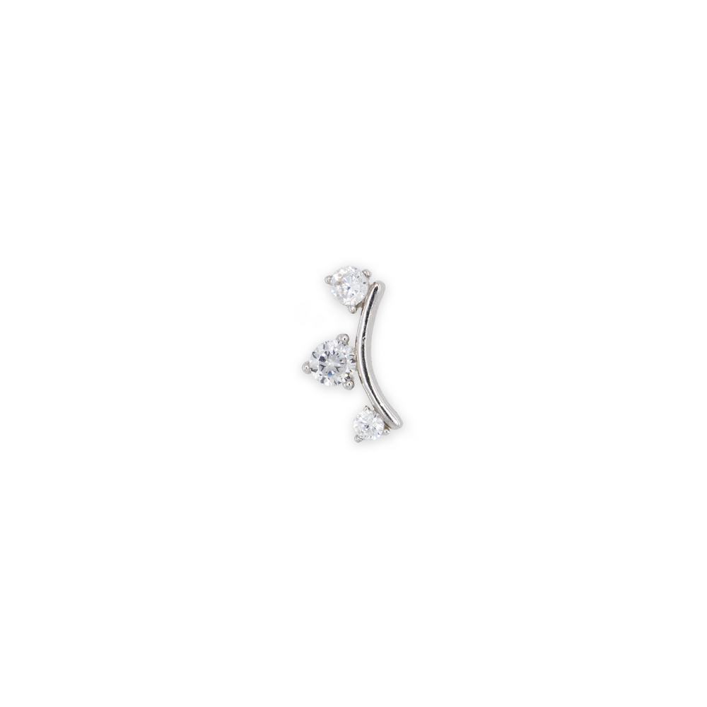THis silver crawler earring is a stud that features three small crystals attached to a silver band.