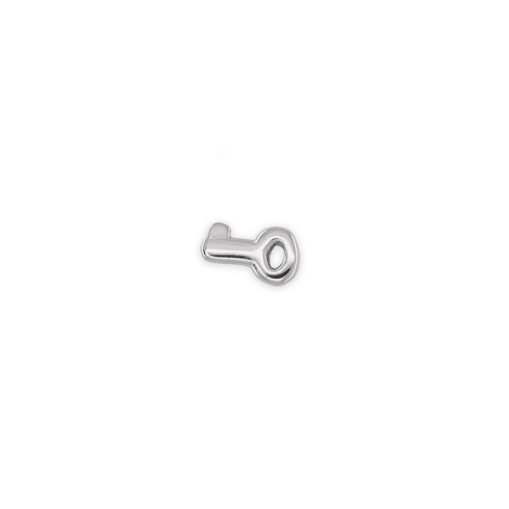 This silver stud is in the shape of a key. color:silver