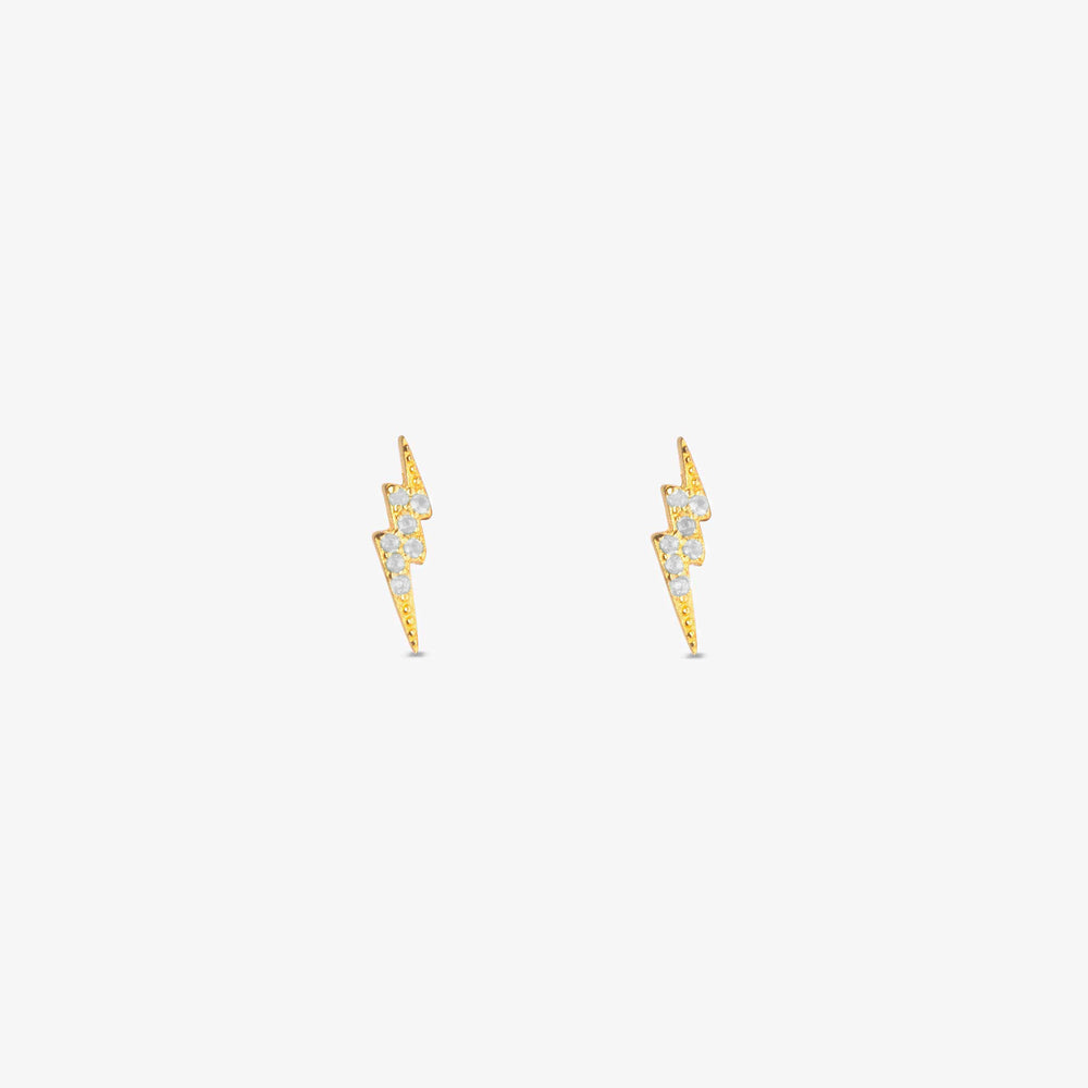 Elongated lightning bolt stud with double pointed ends and clear CZ gems. [pair] color:gold/clear