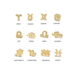 The zodiac stud has all the signs and is a small gold stud.
