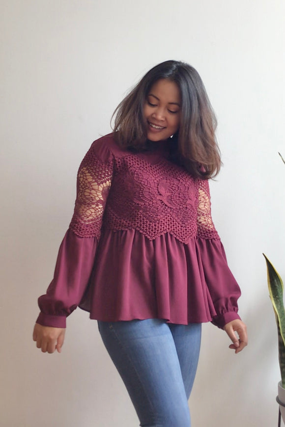 Burgundy Blouse with Lace Bodice (Size L)
