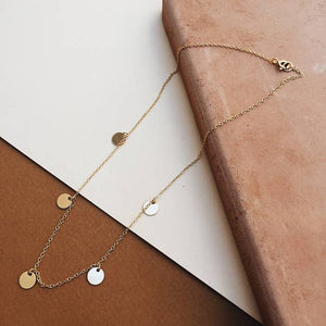 Necklace - 5 Disc Choker Layering Necklace (Gold Filled)