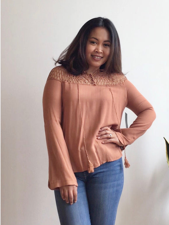 Hailey Cinnamon Top with Bell Sleeves (S, M, L)