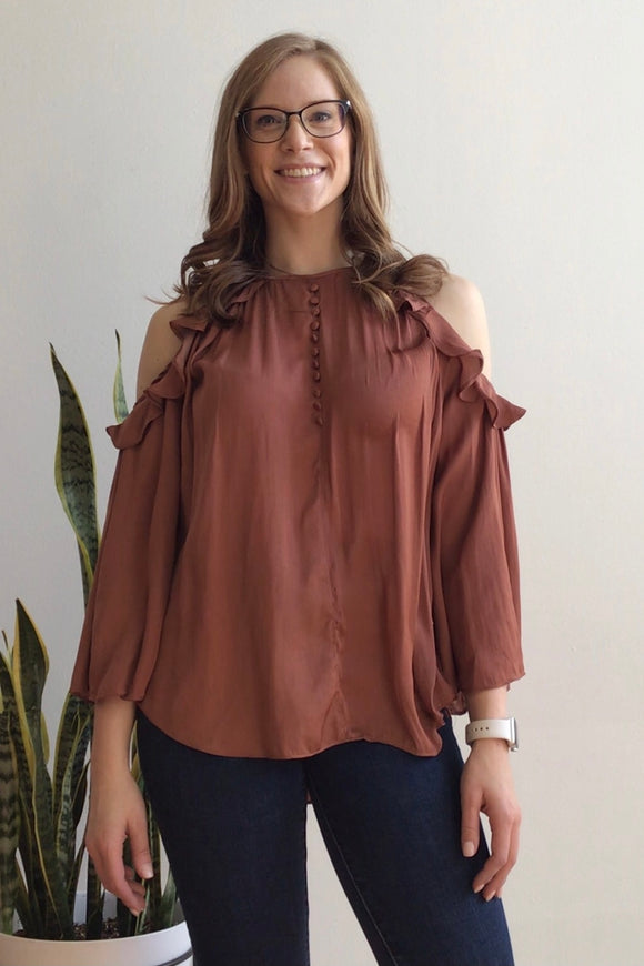 Ariana Copper Cold Shoulder Top (Size M)