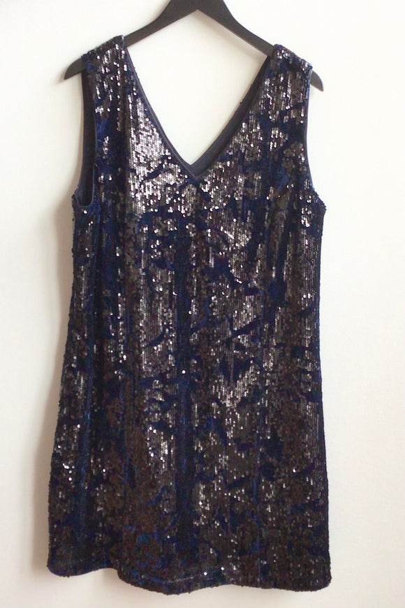 Ying Navy Velvet with Black Sequins Dress (Size XL, XXL)