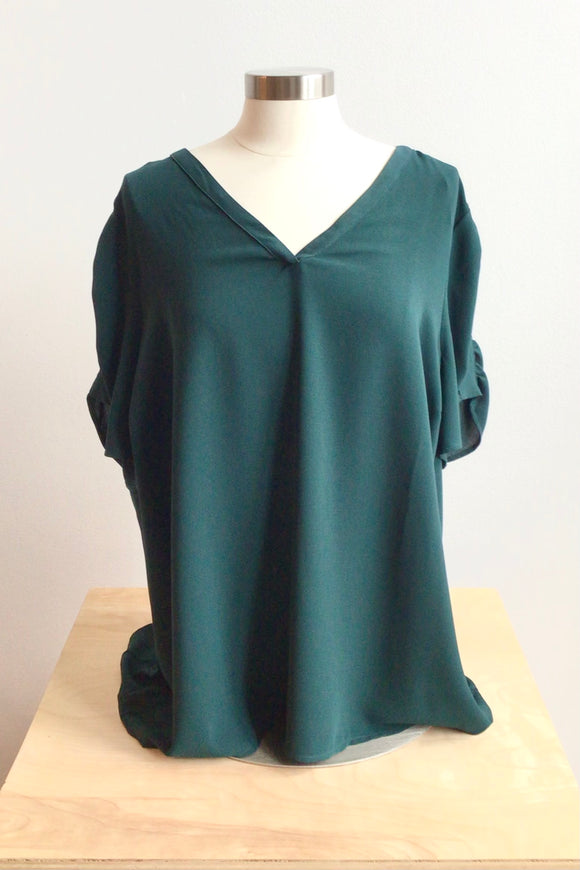 Ariel Short Sleeve Blouse - Dark Green (Size XXL)